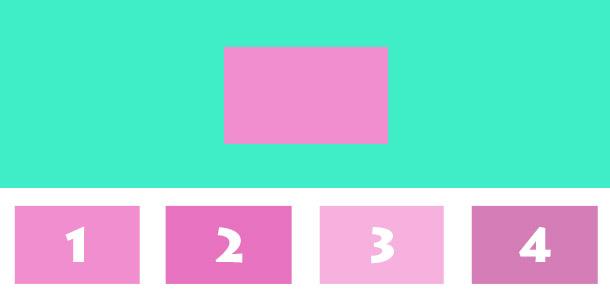 Los geht's: Welches der unteren 4 Rechtecke hat die selbe Farbe, wie das große in der Mitte?