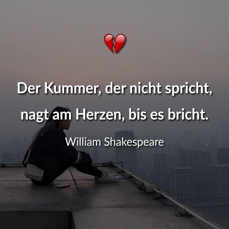 Der Kummer, der nicht spricht, nagt am Herzen, bis es bricht. (William Shakespeare)