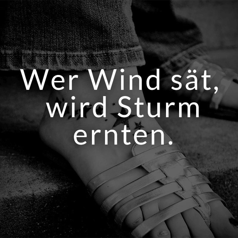 Wer Wind sät, wird Sturm ernten.