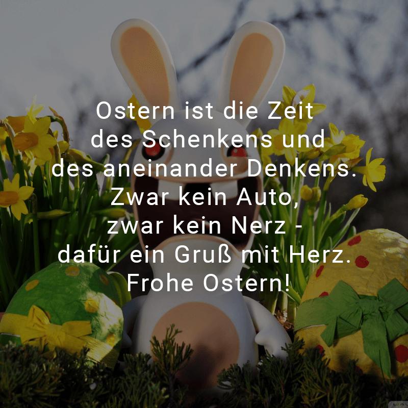 Ostern ist die Zeit des Schenkens und des aneinander Denkens. Zwar kein Auto, zwar kein Nerz - dafür ein Gruß mit Herz. Frohe Ostern!