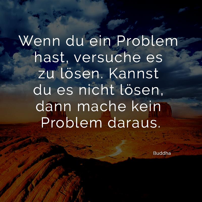 Wenn du ein Problem hast, versuche es zu lösen. Kannst du es nicht lösen, dann mache kein Problem daraus. (Buddha)