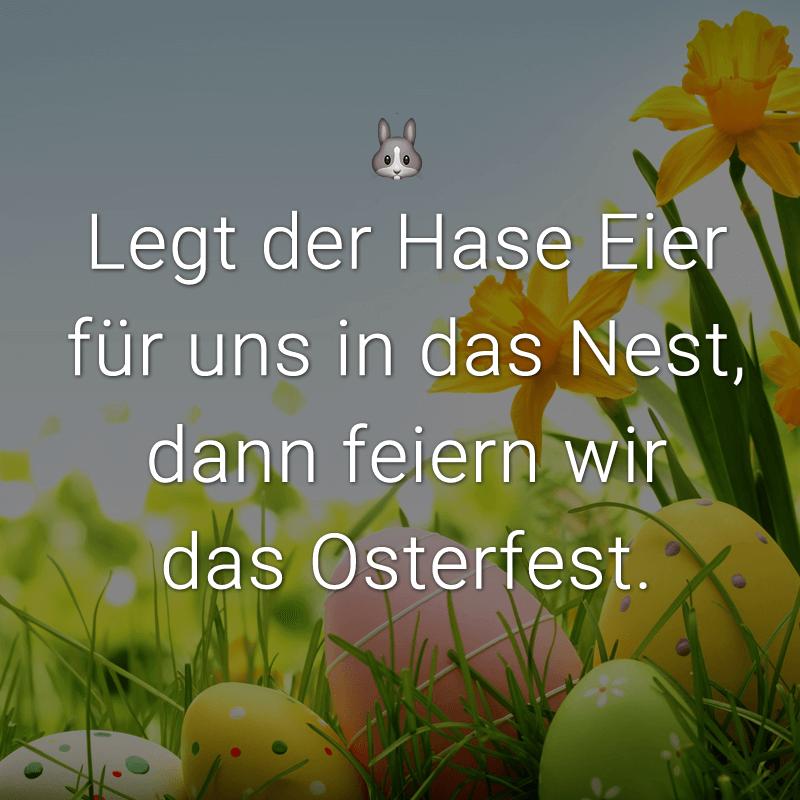 Legt der Hase Eier für uns in das Nest, dann feiern wir das Osterfest.