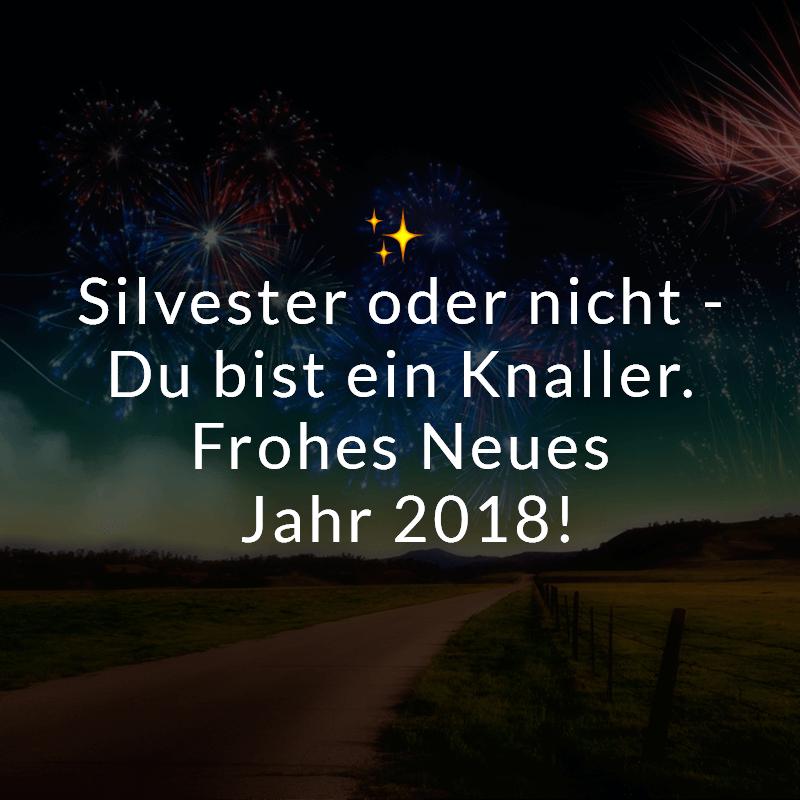 Silvester oder nicht - Du bist ein Knaller. Frohes Neues Jahr 2018!