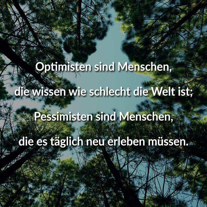 Optimisten sind Menschen, die wissen wie schlecht die Welt ist; Pessimisten sind Menschen, die es täglich neu erleben müssen.