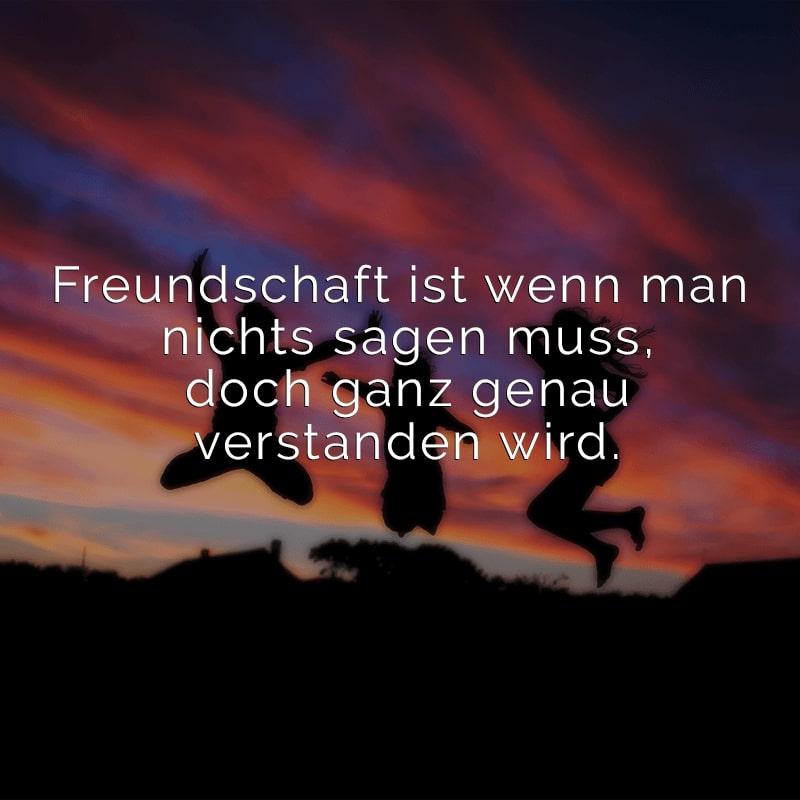 Freundschaft ist wenn man nichts sagen muss, doch ganz genau verstanden wird.