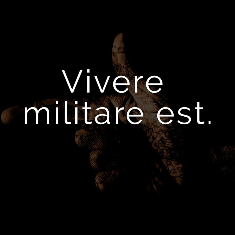 Vivere militare est. (Lateinisch für: Zu leben heißt zu kämpfen.)