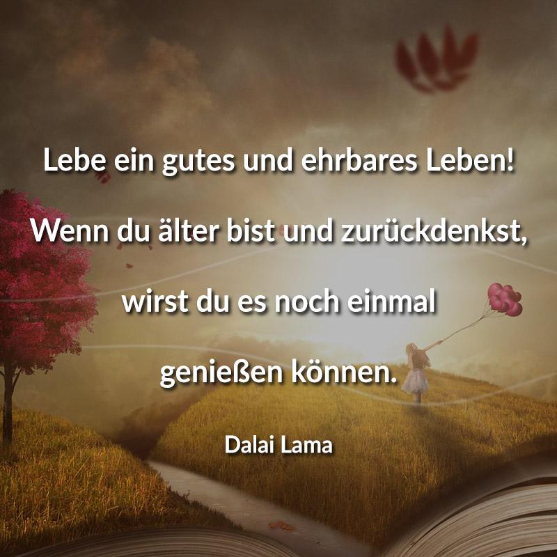 Lebe ein gutes und ehrbares Leben! Wenn du älter bist und zurückdenkst, wirst du es noch einmal genießen können. (Dalai Lama)