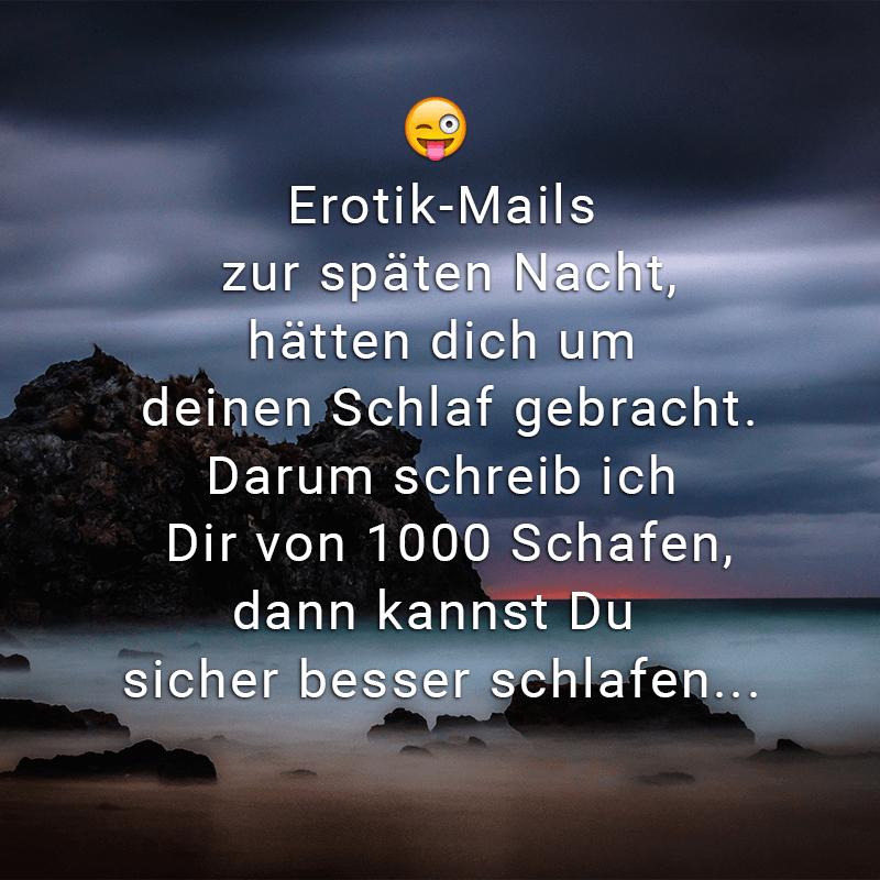 Erotik-Mails zur späten Nacht, hätten dich um deinen Schlaf gebracht. Darum schreib ich Dir von 1000 Schafen, dann kannst Du sicher besser schlafen...