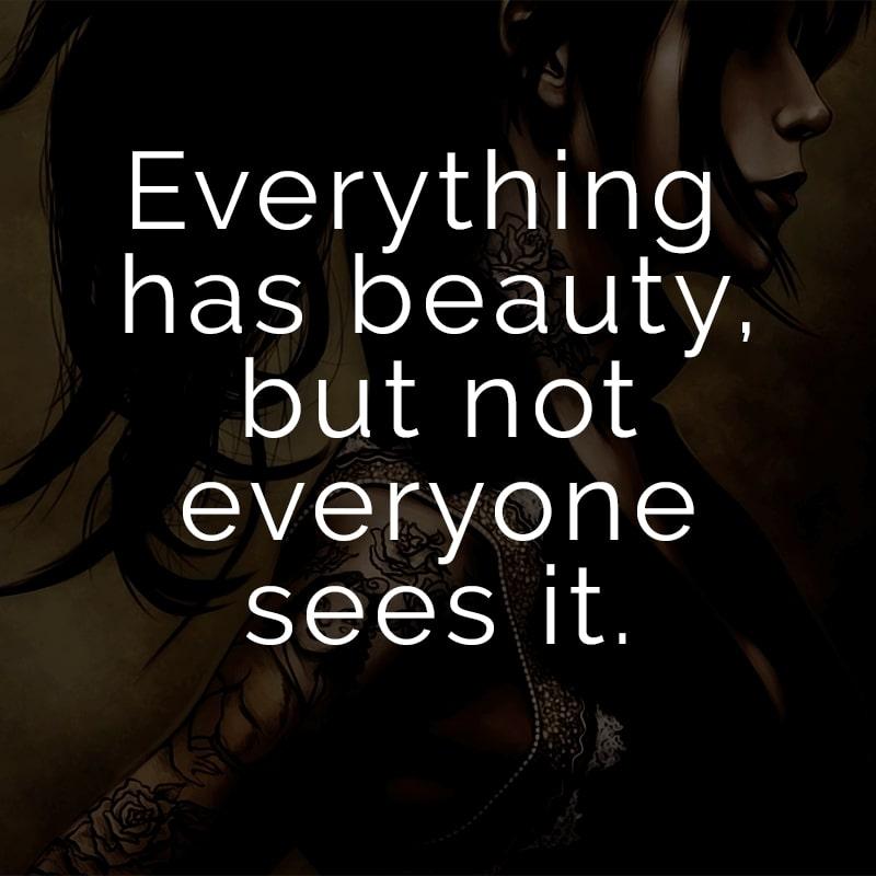 Everything has beauty, but not everyone sees it. (Englisch für: Schönheit ist in allem, aber nicht jeder sieht es.)