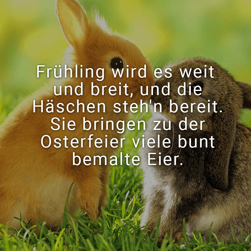 Frühling wird es weit und breit, und die Häschen steh'n bereit. Sie bringen zu der Osterfeier viele bunt bemalte Eier.