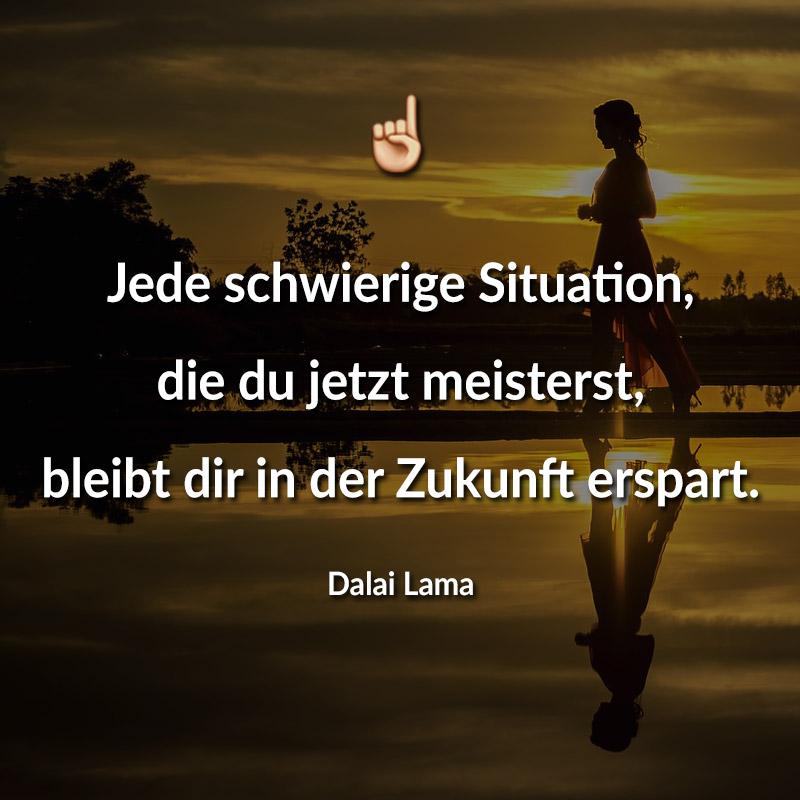 Jede schwierige Situation, die du jetzt meisterst, bleibt dir in der Zukunft erspart. (Dalai Lama)