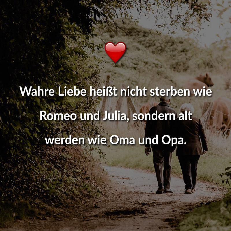 Wahre Liebe heißt nicht sterben wie Romeo und Julia, sondern alt werden wie Oma und Opa.