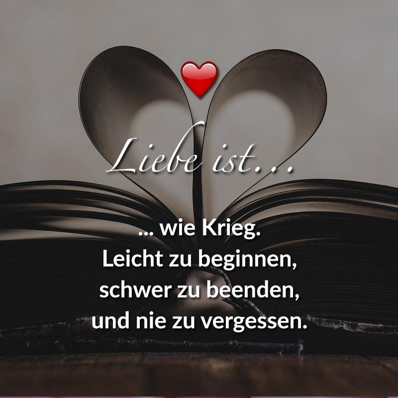 Liebe ist... wie Krieg, leicht zu beginnen, schwer zu beenden, und nie zu vergessen.
