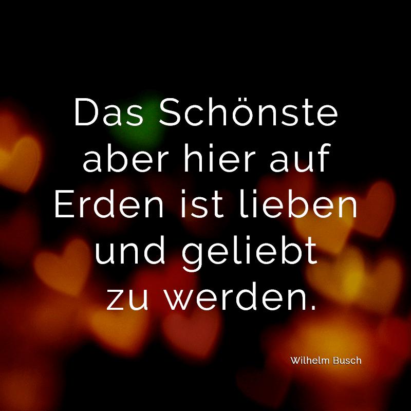 Das Schönste aber hier auf Erden ist lieben und geliebt zu werden. (Wilhelm Busch)