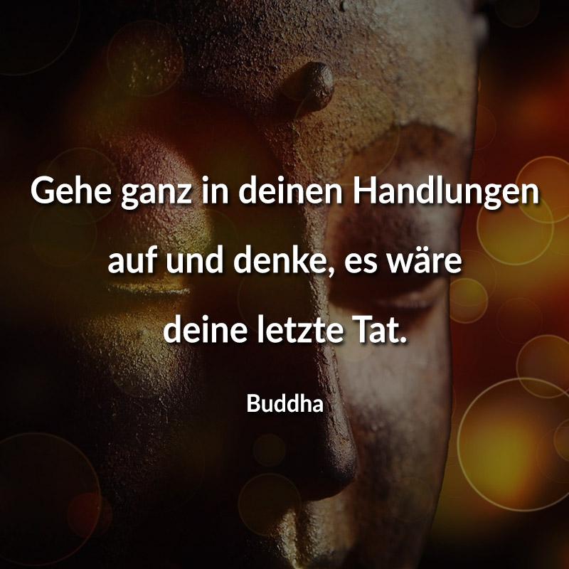 Gehe ganz in deinen Handlungen auf und denke, es wäre deine letzte Tat. (Buddha)