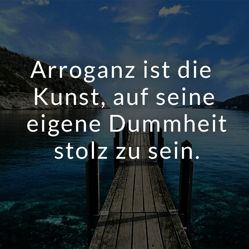 Arroganz ist die Kunst, auf seine eigene Dummheit stolz zu sein.