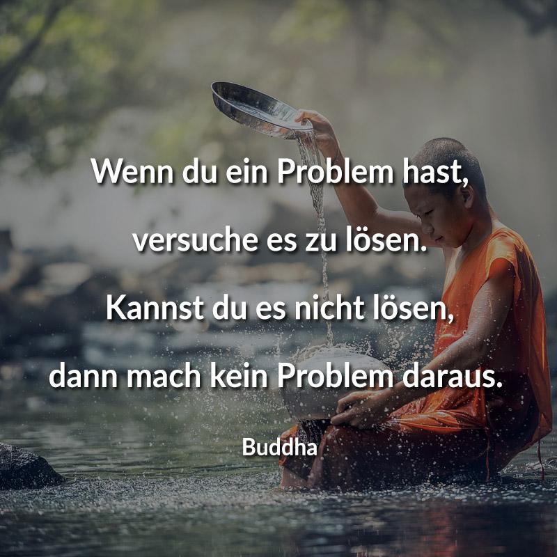Wenn du ein Problem hast, versuche es zu lösen. Kannst du es nicht lösen, dann mach kein Problem daraus. (Buddha)