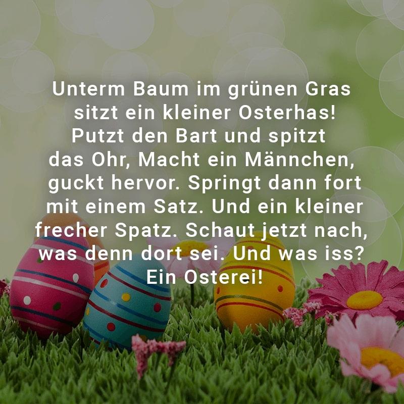 Unterm Baum im grünen Gras sitzt ein kleiner Osterhas! Putzt den Bart und spitzt das Ohr, Macht ein Männchen, guckt hervor.  Springt dann fort mit einem Satz. Und ein kleiner frecher Spatz.  Schaut jetzt nach, was denn dort sei. Und was iss? Ein Osterei!