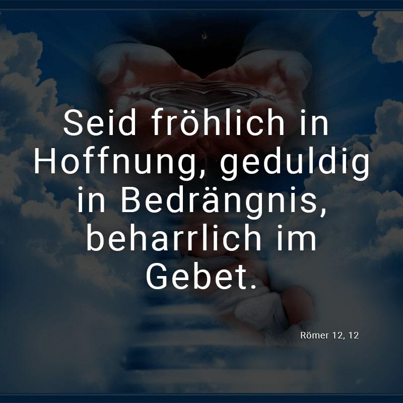 Seid fröhlich in Hoffnung, geduldig in Bedrängnis, beharrlich im Gebet. (Römer 12, 12)