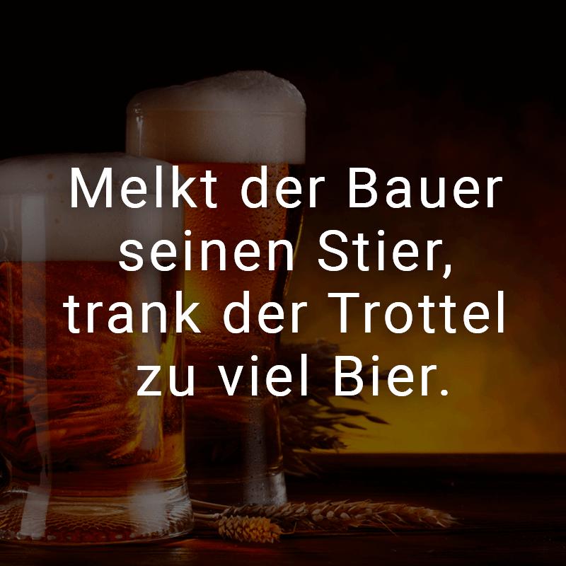 Melkt der Bauer seinen Stier, trank der Trottel zu viel Bier.